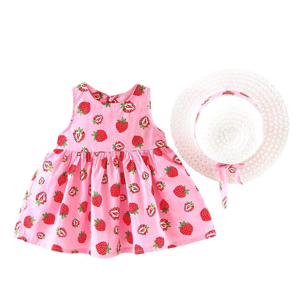 Hstore Toddler Baby Kids Girls Summer Fruit Princess Dresses Hat Casual Outfits Set
