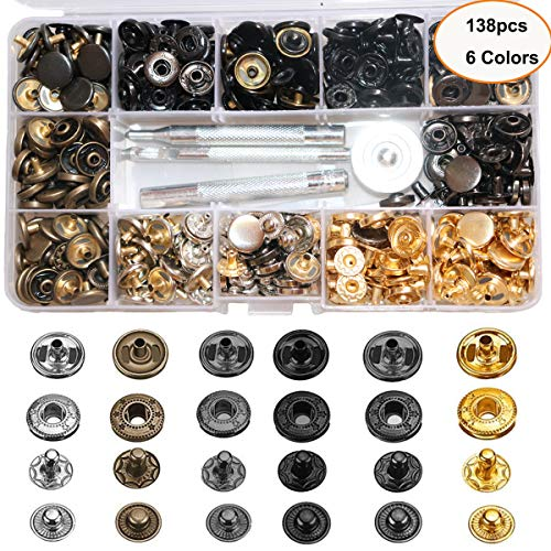 138 Sets Snap Fastener Kit Button Tool, Leather Snap Buttons Press Studs with 6PCS Clothing Snaps Kit Fixing Tools, Metal Snaps for Clothing Leather Craft Bracelet Jeans Wear Jacket Bags Belt