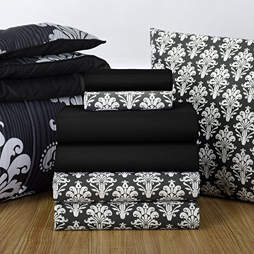 - Campus Linens 16 Piece Starter Pak Victoria Damask and Black Twin XL College Dorm Bedding and Bath Set