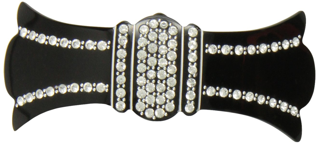 Caravan Volume Barrette Decorated With 76 Crystal Rhinestones Plus Studs And Engraved Hand Painting
