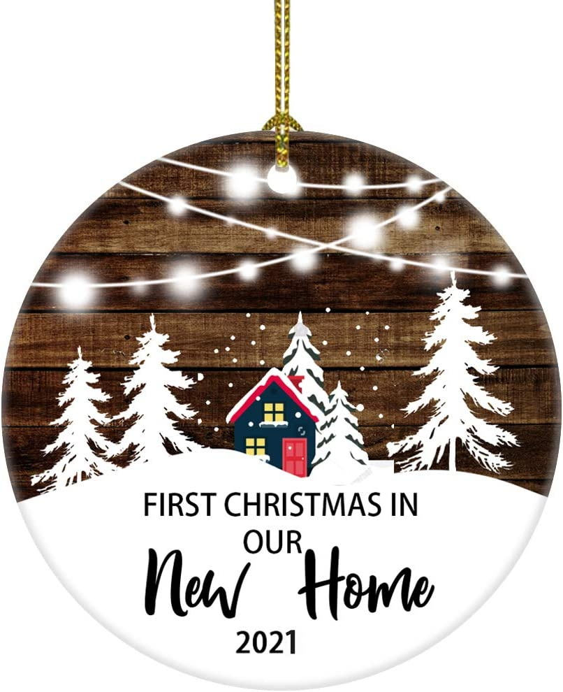 Our First Christmas in Our New Home Christmas Tree House Ornament Christmas Wedding Decoration Couple Gift Newlywed Couple 2021 (White and Brown New Home)