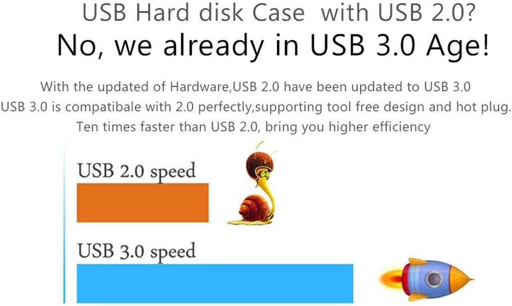 Aluminum 2.5 Inch HDD Case USB 3.0 to Sata 6Gbps High Speed Case Support UASP External Hard Drive for HDD SSD with Portable External Laptop Hard Drive (Gray)