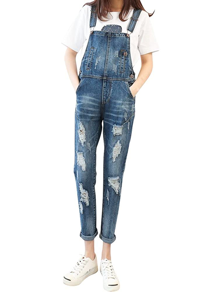 Drasawee Women's Adjustable Jeans Overalls Suspender Denim Trousers Jump Suit LLDVV0294