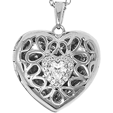 10dfac3c54 Amazon.com: With You Lockets-Fine Sterling Silver-Custom Photo Heart Locket  Necklace-That Holds Pictures for Women-The Katharine: Jewelry