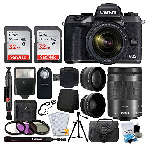 Canon EOS M5 Mirrorless Digital Camera + EF-M 18-150mm f/3.5-6.3 IS STM Lens (Graphite) + SanDisk 64GB + 55mm Wide Angle & 2x Lens + Wireless Remote + Quality Tripod + Slave Flash + Accessories Bundle
