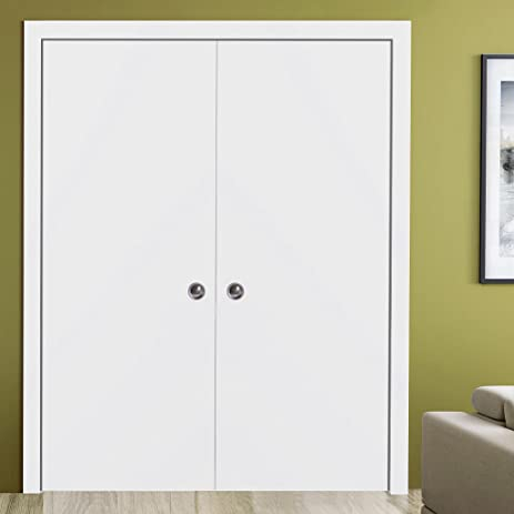 Planum 0010 Interior Double Sliding Closet Pocket Door White Silk Without  Casings And Extensions (60u0026quot