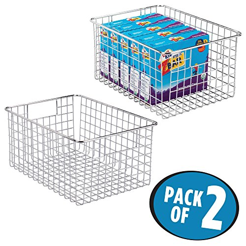mDesign Kitchen Pantry Organizing Wire Basket with Handle, 12″ x 9″ x 6″ – Pack of 2, Chrome