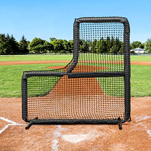 Fortress 7' x 7' L-Screen Frame & Net [Nimitz Edition] - Premium Protection for Pitchers & Coaches - Baseball Protector Screen ()