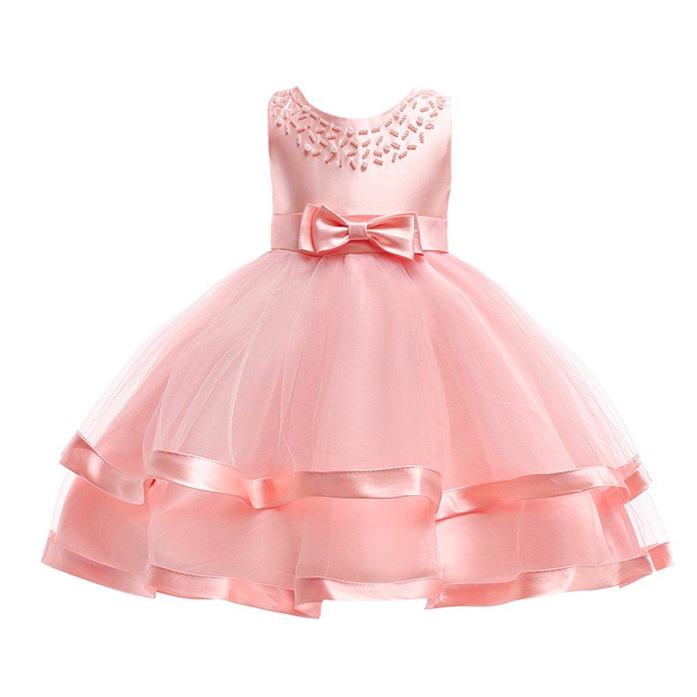 Longra Vestito Ragazza Senza Maniche Gonna Tutu Bambini Carnevale Cosplay Abiti Principessa Abito da Sposa Cerimonia Elegante Vestito Alta qualit/à 4-12 Anni
