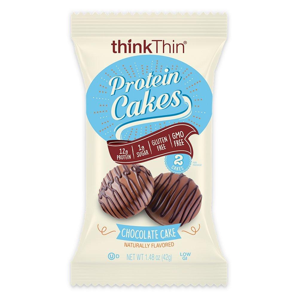 Protein Cakes by thinkThin - On The Go Snacks - 12g Protein, Low Sugar, Gluten Free, Non-GMO- Chocolate Cake, 2 Cakes per Package (9 Packages) by thinkThin