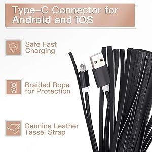 Amazon.com: Custom4U - Abalorio de piel con borla y cable de ...