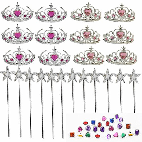 48 Pc Kids Princess Party Set -Princess Girls Party Favors Set -Princess Party Decoration-Tiara Dress Up Play Set ,12 Princess Tiaras, 12 13