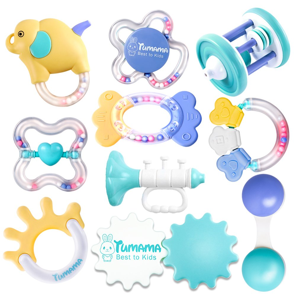 Baby Rattle Teether Toy Sets,BPA-Free Infants Teether Rattle Toy, Colorful Shaking Bell& Musical Handbell for 3-6 Months Newborn Gift 10 Pack