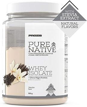 Prozis Natural Pure Native Whey Isolate 900 g Vainilla Proteína natural, Endulzado con stevia, Sin colorantes ni saborizantes artificiales, pureza, ...