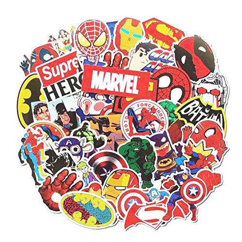 Cartoon Stickers, Echeer Superheroes PVC Waterproof Stickers for Decorate Laptop, Notebooks, Bottles, Car, Bicycle, Skateboards, Luggage etc (50PCS No-Duplicate Stickers Pack)
