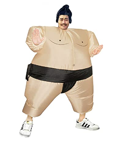 Inflatable Sumo Wrestling Fat Suit Blow Up Fancy Dress Funny Costume Halloween