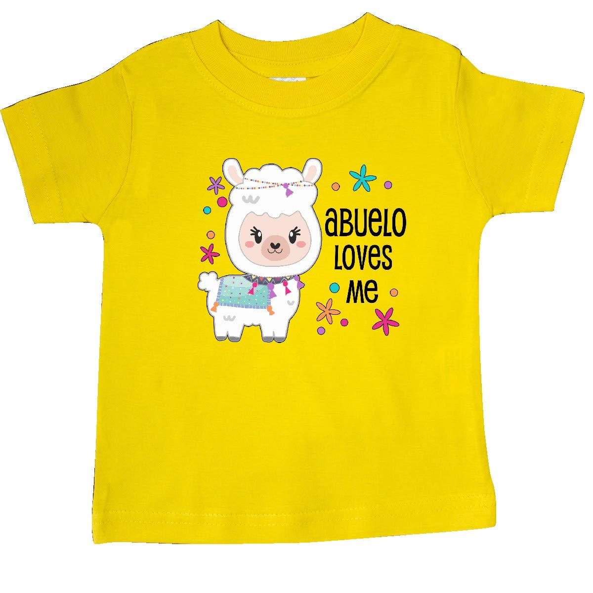 Cute and Happy Llama Baby T-Shirt inktastic Abuelo Loves Me