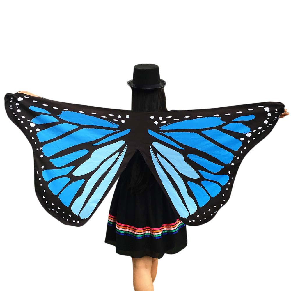 Soft Fabric Butterfly Wings Fairy Ladies Nymph Pixie Costume Accessory BU Blue