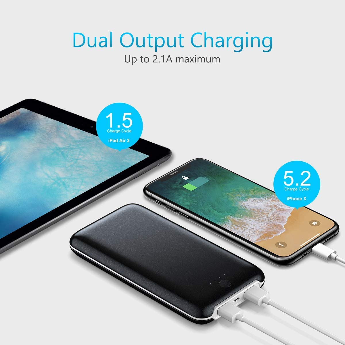 Miady Ultra Compact 20000mAh Power Bank, Portable Charger with 2 ...