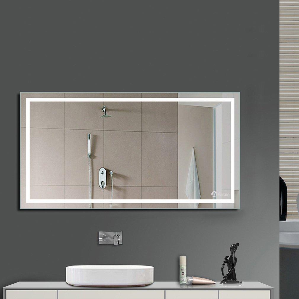 Anten 80 x 60 cm 18W Miroir LED Lampe de Miroir Éclairage Salle de Bain Miroir Lumineux blanc froid 6000K Solide
