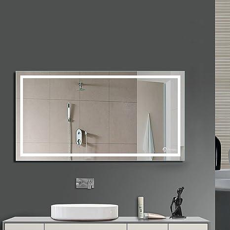 Anten® Miroir LED Lampe de Miroir Éclairage Salle de Bain Miroir Lumineux  Solide de Verre Trempé Design Carré (23W/1000 * 600MM/Blanc froid 6000K)