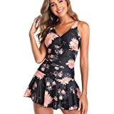 aihihe Womens One Piece Swimsuits for Women Tummy Control Plus Size Swimwear Retro Swimdress Bathing Suit Dress Skirt