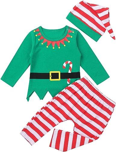 Freebily Ropa Conjunto Bebé Niña Niño Recien Nacido Elfo Disfraz de Duende Bebé Navidad Camisa Top Manga Larga con Pantalón Rayada Gorro de Santa: Amazon.es: Ropa y accesorios