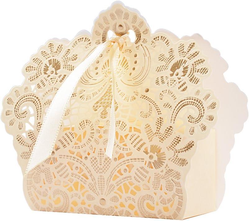 50pcs Cajas Cajitas Papel de Caramelos Bombones Dulces Galletas Regalos Recuerdos Detalles para Invitados de Boda Fiesta Bautizo Cumpleaños (Champán)