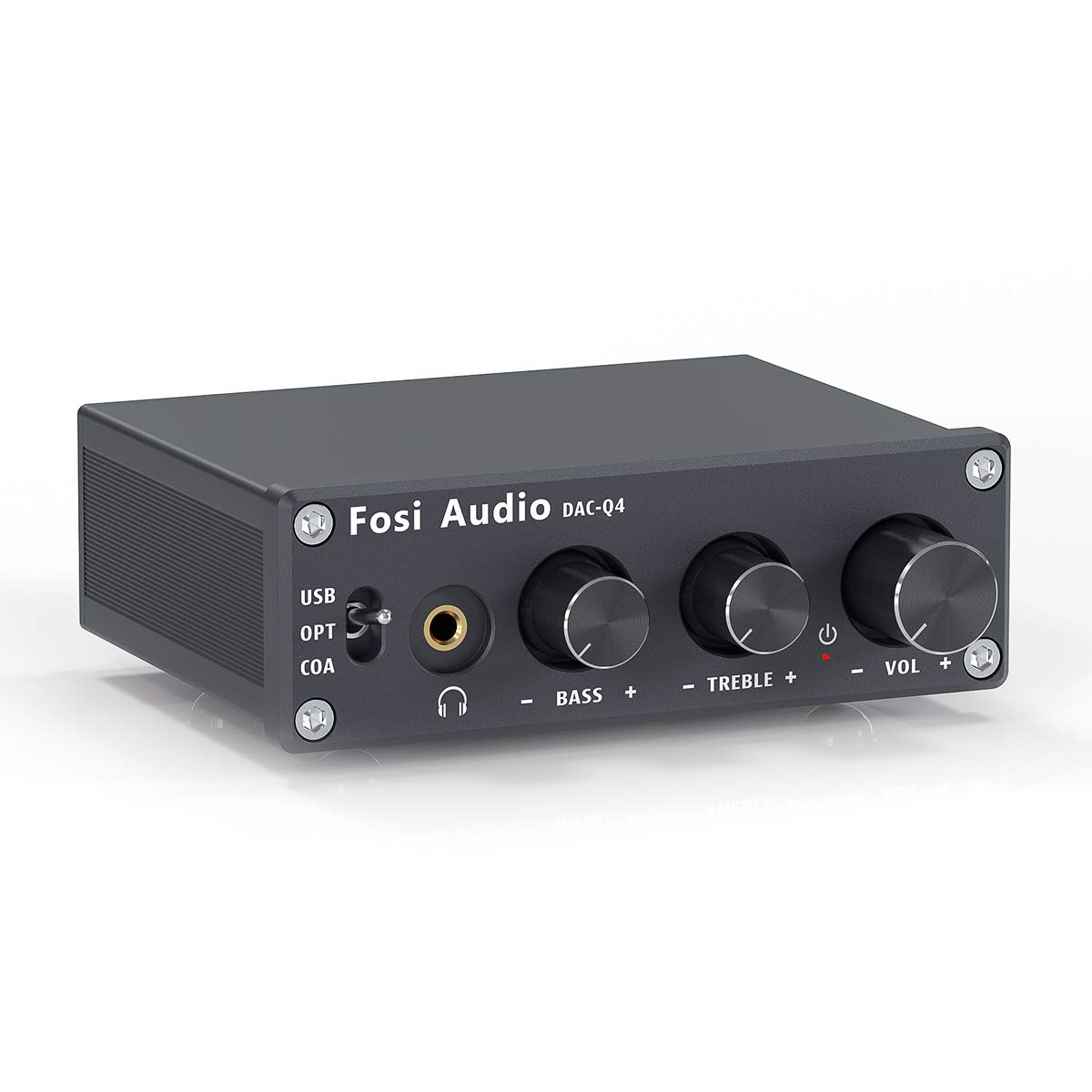 Fosi Audio Q4 - Mini Gaming Stereo DAC & Headphone Amplifier, 24Bit/192KHz USB/Optical/Coaxial to RCA AUX, Digital-to-Analog Audio Converter Adapter for Home/Desktop Powered/Active Speakers