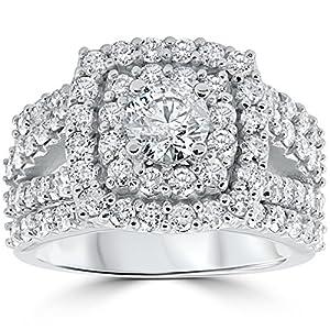 3 Ct Diamond Engagement Wedding Cushion Halo Ring Set 10k White Gold
