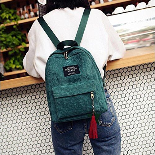 LHWY Moda De La Mujer Lienzo De La Escuela Borla Bolsa Mochila De Viaje (Gris) Verde