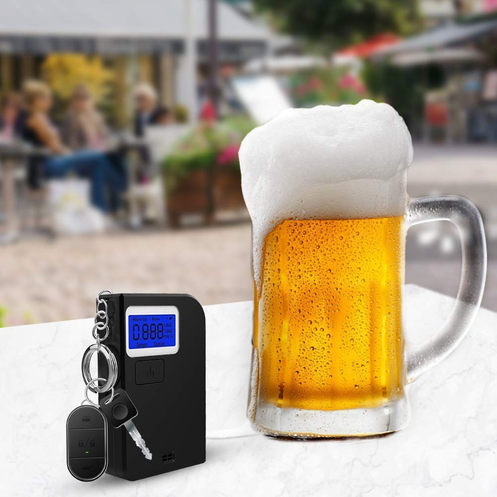 Ciaoed Futhead Keychain Breathalyzer Probador de Alcohol de Aliento Profesional port/átil con Pantalla LCD Digital Mini analizador de Aliento con 5 boquillas