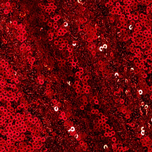 Ben Textiles Inc. Glitz Sequin & Mesh Red Fabric By The (Red Sequin Fabric)