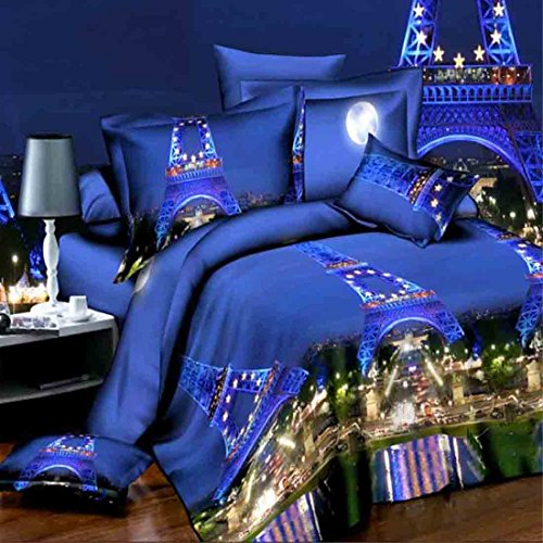 l Tower Bedding Duvet Cover Bedclothes Set Bedroom Comforter Shell Queen Size 4pcs (Eiffel Tower Comforter)