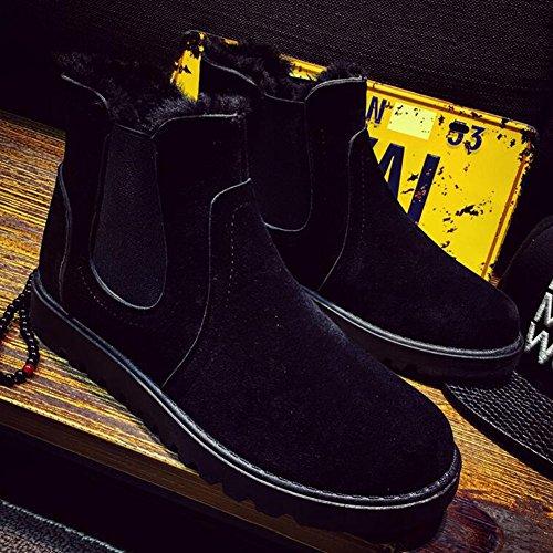 Chaussures YIXINY de Sport Bottes d'homme PU Bottes de Neige Garder Chaud Coton Bottes Martin Britannique Style Hiver Route et Chemin (Couleur : 2, Taille : EU39/UK6.5/CN40) 4