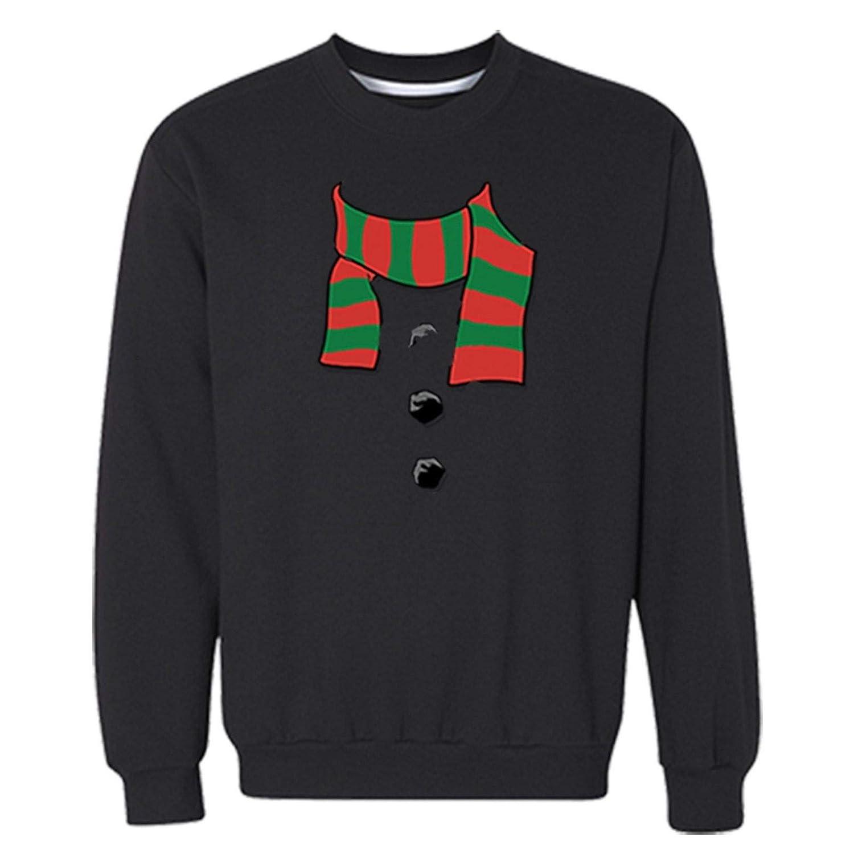 XtraFly Apparel Mens Snowman Scarf Santa Ugly Christmas Pullover Crewneck-Sweatshirt