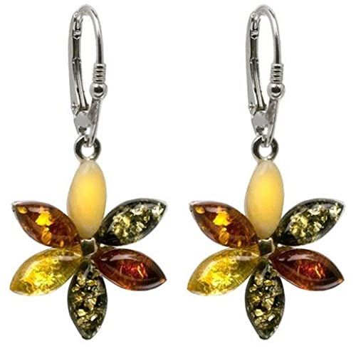 Sterling Silver Amber Clover Leaf Leverback Earrings