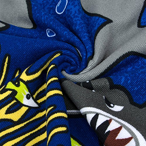VOBCTY Microfiber Kids Hooded Bath Beach Pool Poncho Towel 2424Inch(Tiger Shark) by VOBCTY (Image #2)