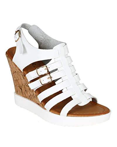 91ef8a383c6 Qupid Women Leatherette Open Toe Strappy Gladiator Cork Wedge Platform  Sandal CA39 - White Leatherette (