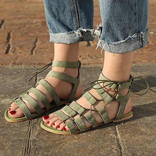 Shoes Roman Girls Outdoor Green Sandals Sandals Flat Bohemia Comfort Toe Summer Indoor Beige Fashion Green Black Women Plus Gladiator Flat Peep Strap Sandals Slippers Size Gray zq45pvn