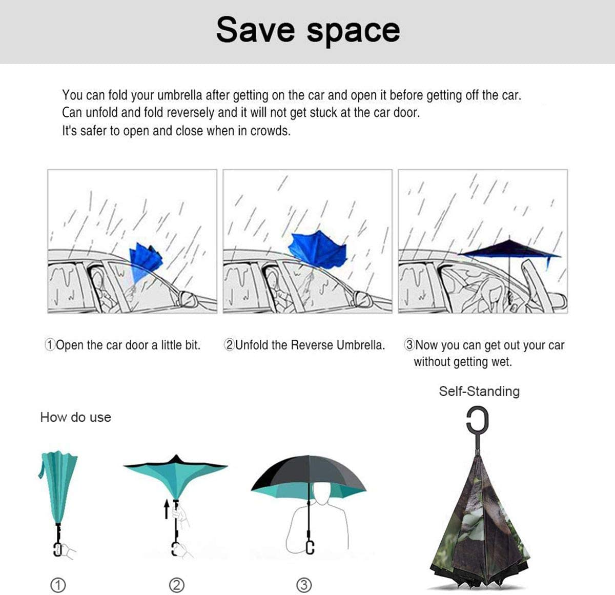 Folding Reverse Umbrella for Car Rain Outdoor PYFXSALA Koala Sleeping Windproof Inverted Umbrella Double Layer UV Protection Self Stand Upside Down with C-Shaped Handle