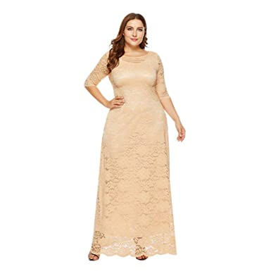 b76e1f3c4c9 Image Unavailable. Image not available for. Color  Xinvision Plus Size Full  Lace Maxi Dress Pockets Wedding ...