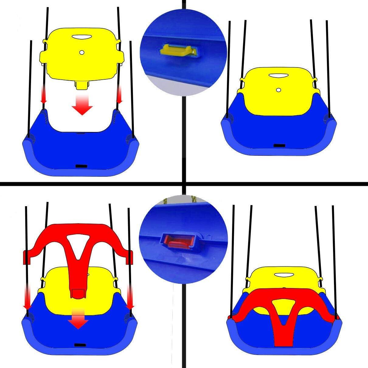 LittleTom 3in1 Toddler Swing Chair 40x43x33cm Garden Baby Seat Blue-Yellow