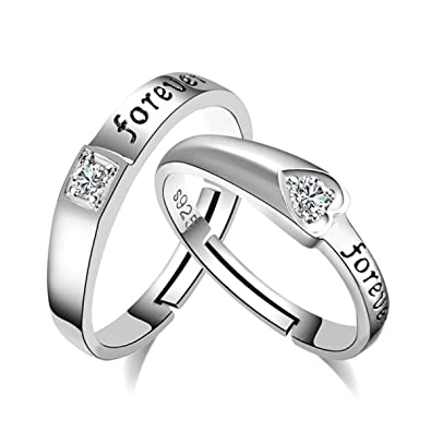 49caa4192 ... Forever Sterling Silver Swarovski Crystal Designer Adjustable  Engagement Couple Rings for Men and Women Online at Low Prices in India |  Amazon Jewellery ...