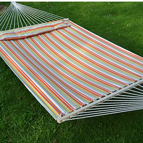 Strong Camel STRIPE-WHITE-ORANGE Hammock Double Size Quilted