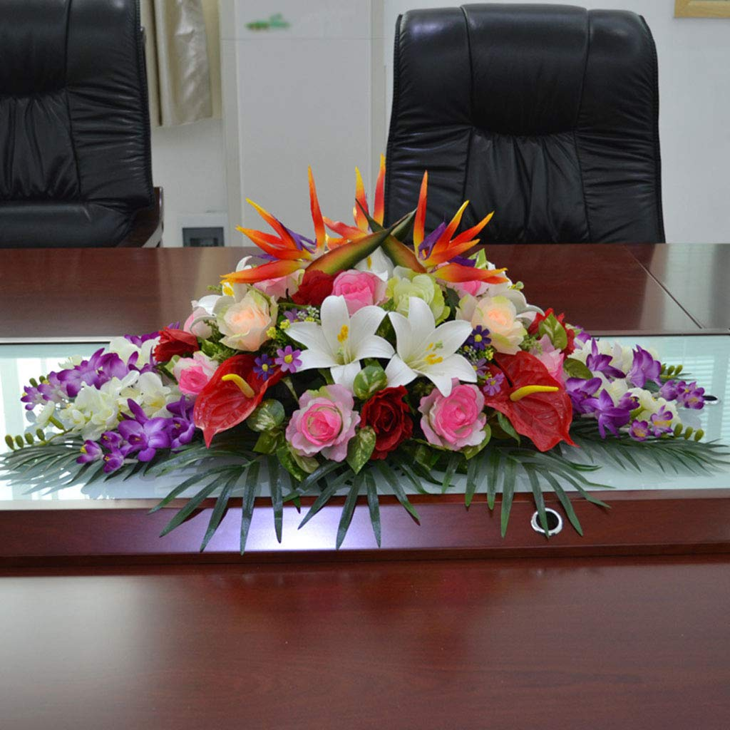 Desk Decorative Artificial Flower, Conference Table Flower, Silk Flower, Suitable for Rectangular Conference Tables, Reception Desks, TV Cabinets by HHCC - Artificial Flowers