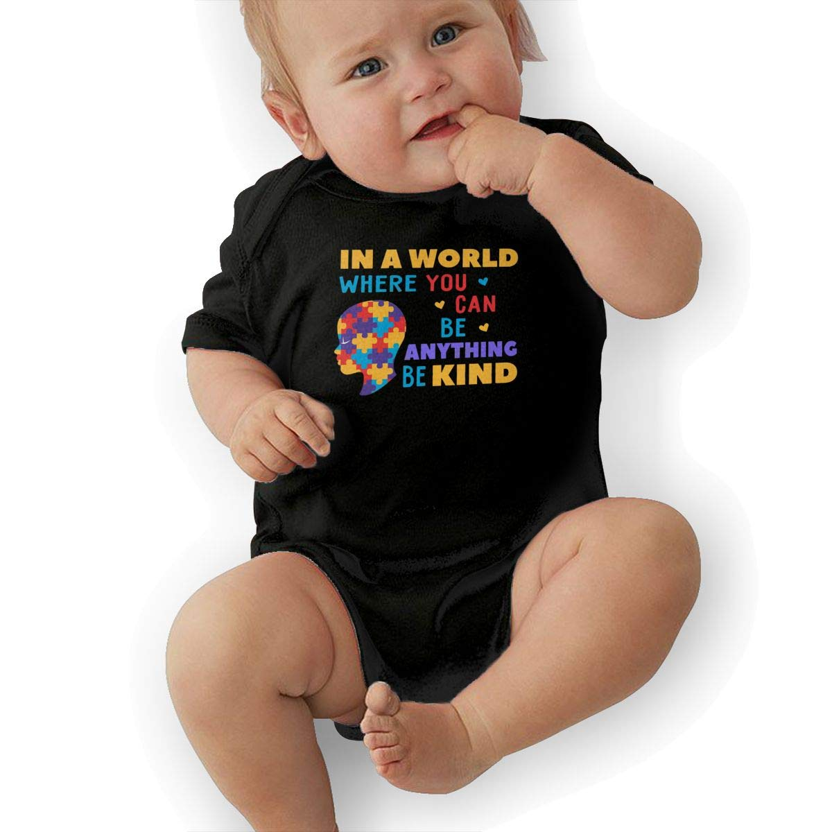 in A World Where You Can Be Anything Be Kind Casual Newborn Baby Short Sleeve Bodysuit Romper Infant Summer Clothing