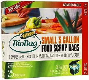5 x BioBag Small 3 Gallon Food Scrap Bags, 25 ea