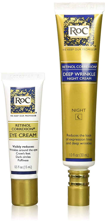 Roc Retinol Value Set Duo, Deep Wrinkle Night Face Cream & Retinol Correxion Eye Cream (Packaging May Vary)