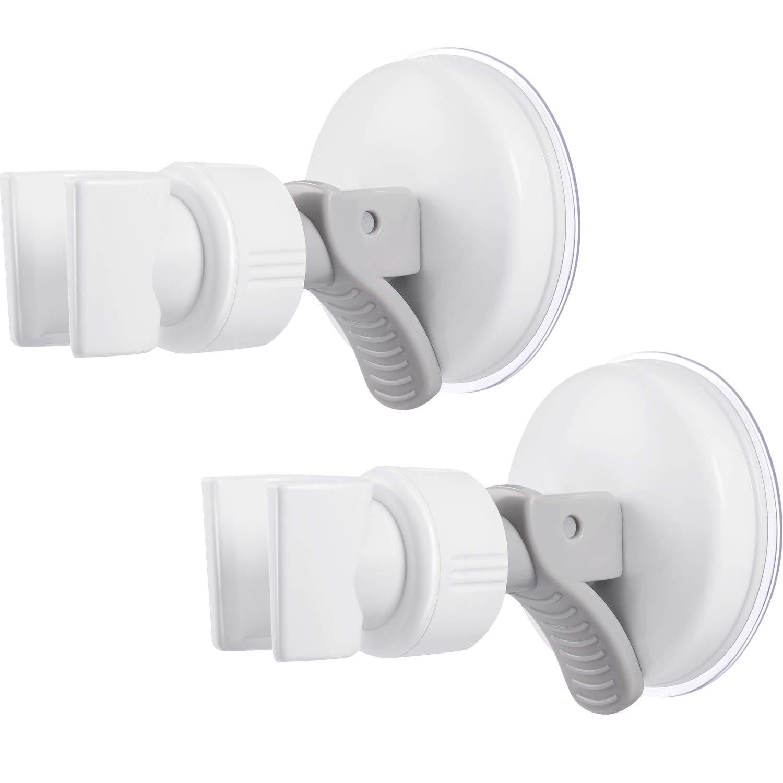 Silber Schraubenschl/üssel 2 Packungen Verstellbarer Brausehalter Bad Saugnapf Handbrausehalter Halterung Kunststoff ABS mit Chrom Poliert f/ür Marmor Glas Metall Keramik